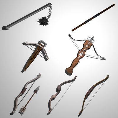 medieval bows crossbows flail 3d 3ds