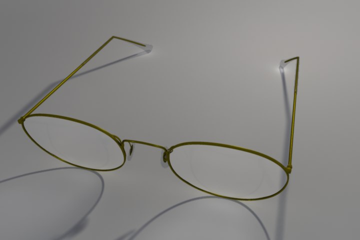3d model of gold vintage glasses