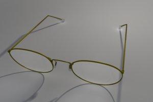 3d model of gold vintage glasses