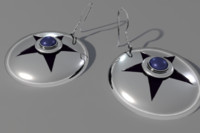 3d earrings star silver model