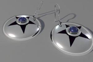 3d earrings star silver model