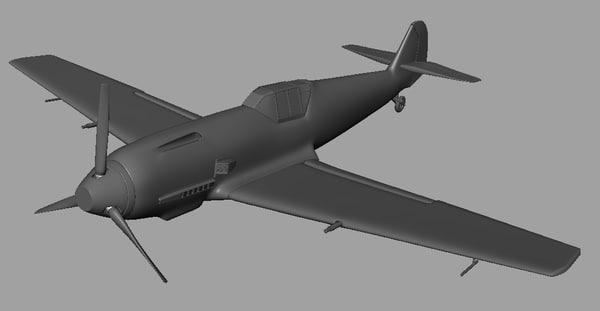 world war messerschmitt bf 3d model