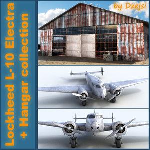 3d old hangar lockheed l-10
