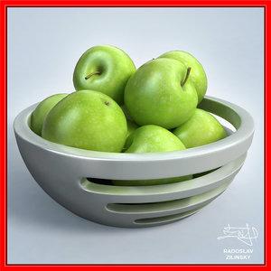apples bowl design - 3ds