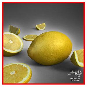 3d model realistic lemon