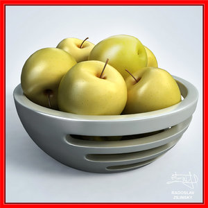 apples bowl yellow design 3d 3ds