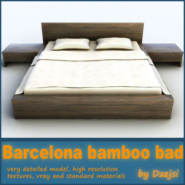 3ds max barcelona bamboo bed
