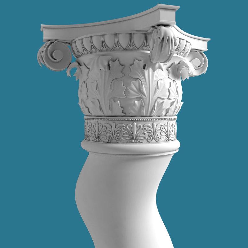spiral corinthian column obj