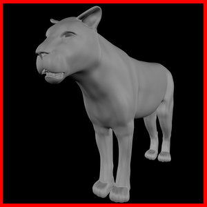 lion cats 3d obj