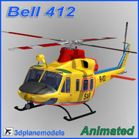 bell 412 helicopter animation 3d max