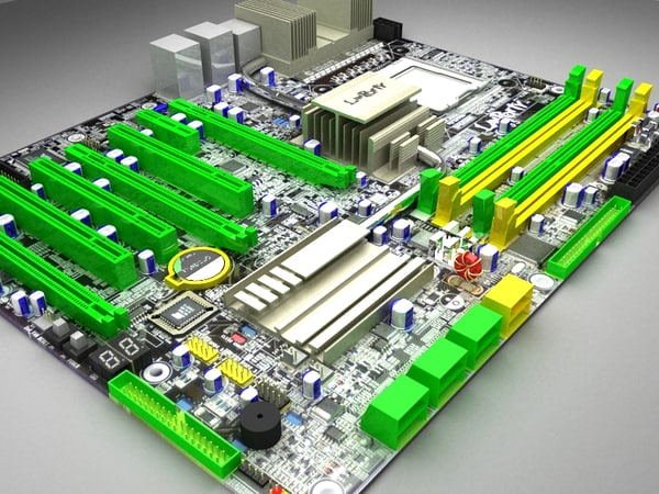 3d model dfi motherboard