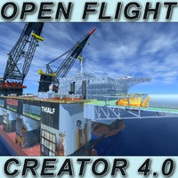 Oil rig Dual Crane_Vessel (Open Flight format)