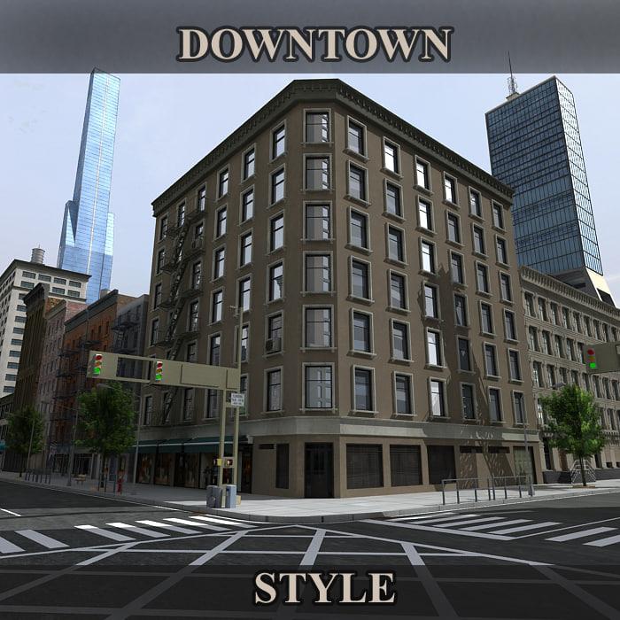 3d model downtown buildings