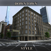 3d model downtown buildings