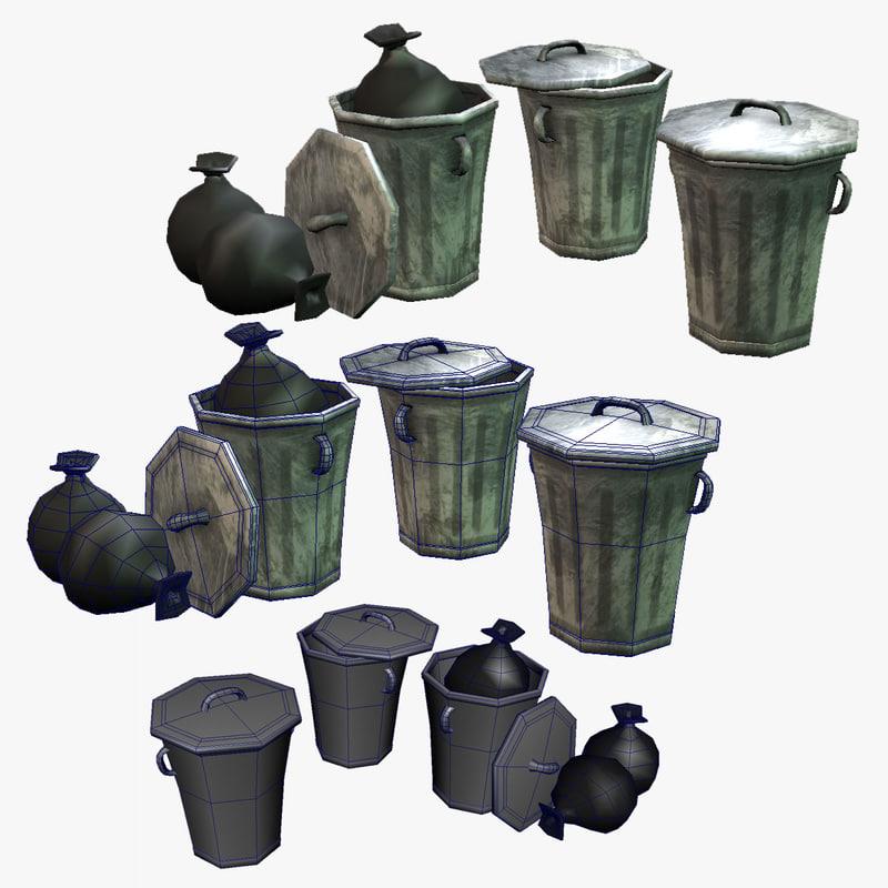 3d 3ds trash cans