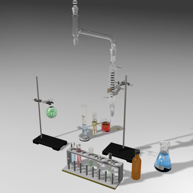 3d science lab glassware