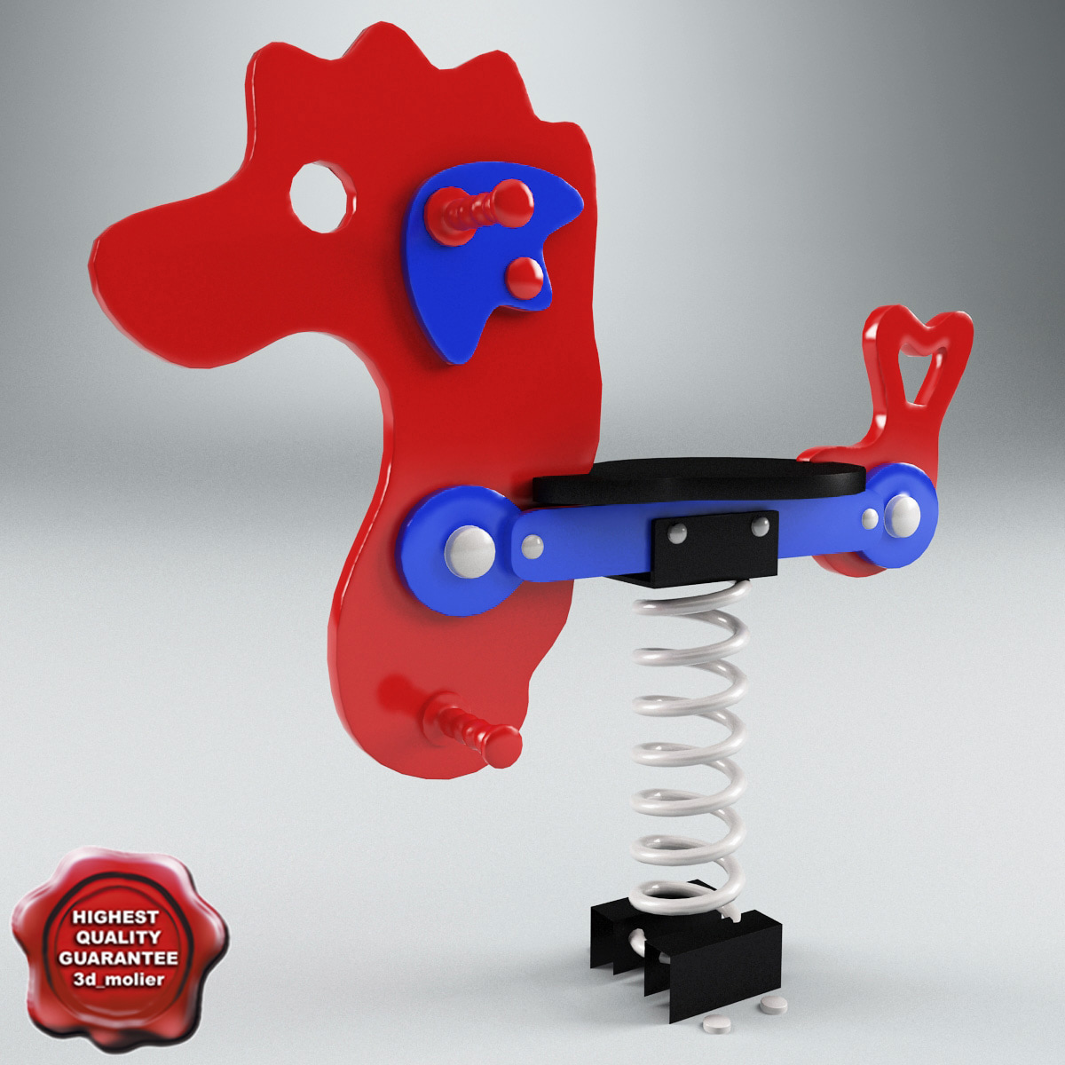 3ds spring swing seahorse