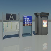 3d airport terminal signs model