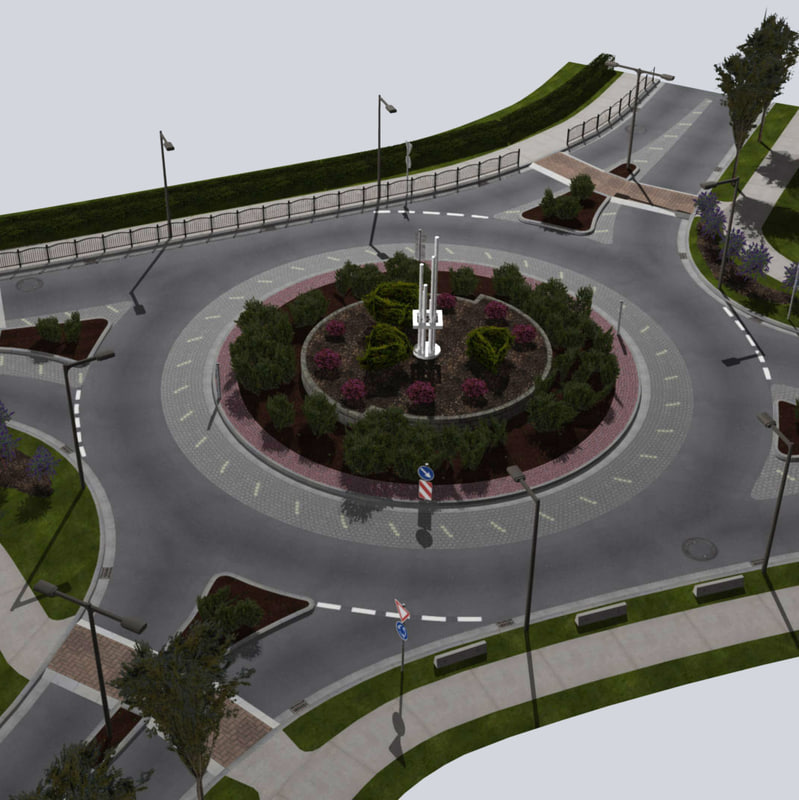 roundabout tree street signs 3d model