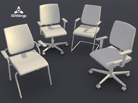 conference chair black dot 3d max