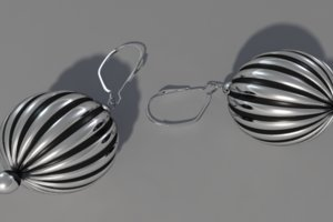 3ds max silver ball earrings