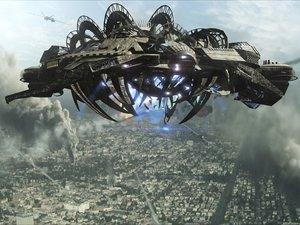 alien mothership skyline 3d max
