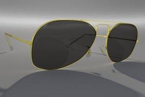 vintage aviator style sunglasses 3d model