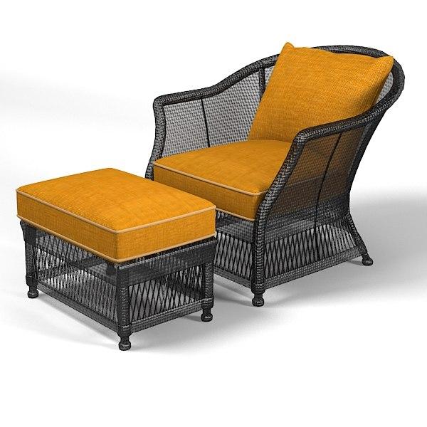 3d model of wicker sofa chair