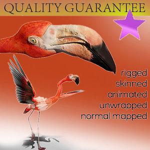 flamingo skinned rigged 3d model
