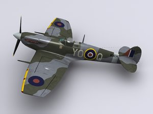 3d model supermarine spitfire fighter lf