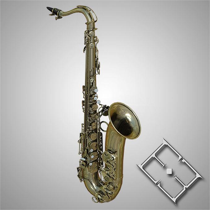 realistic saxophone obj