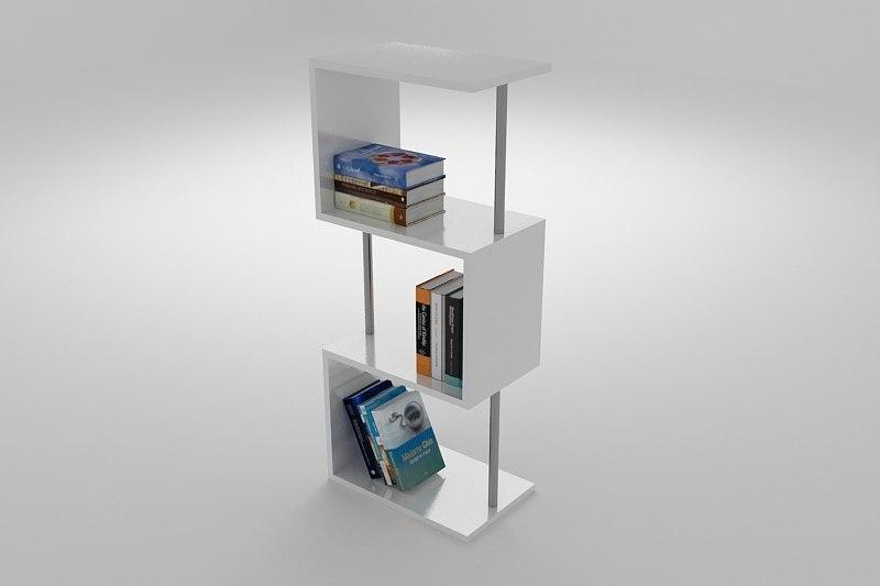 3d model contemporary bookcase unit