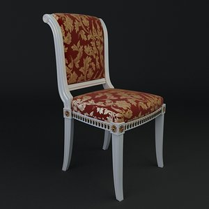 3d antique armless chair