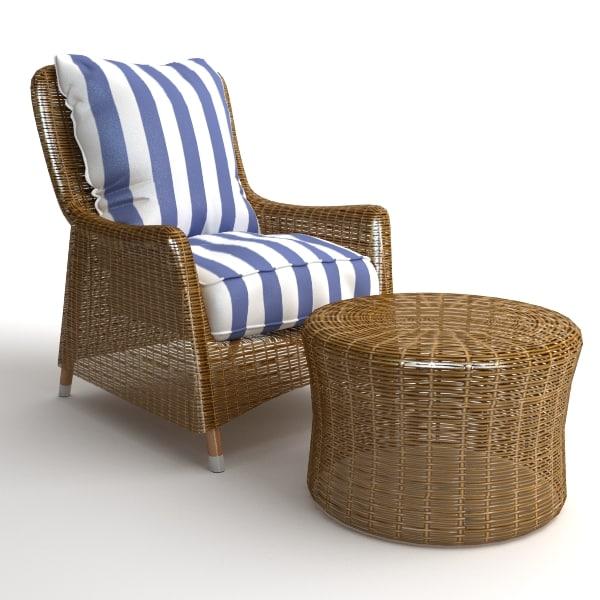 wicker armchair ottoman 3d max