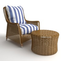 Wicker Armchair & Ottoman