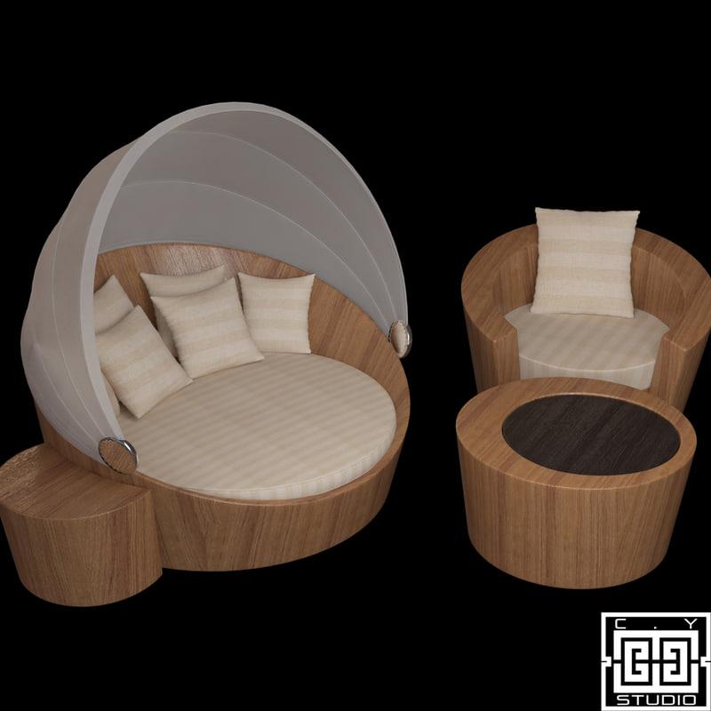 lounge pouf 3d model