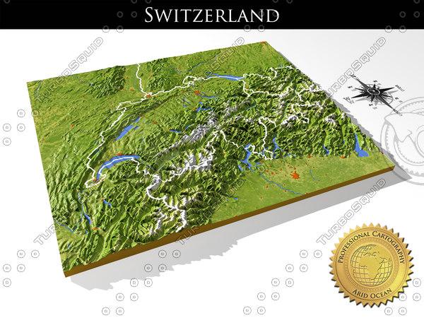 relief switzerland 3d max
