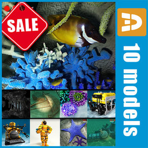 3ds max sea underwater fishes