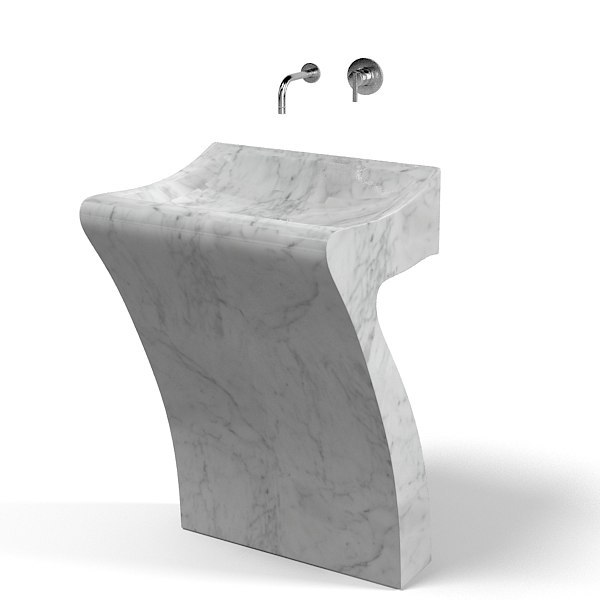 agape cer731 modern marble sink pedestal lavatory - Modern Pedestal Sink