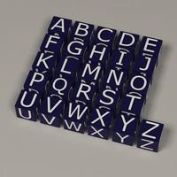 3d boxes alphabet letters