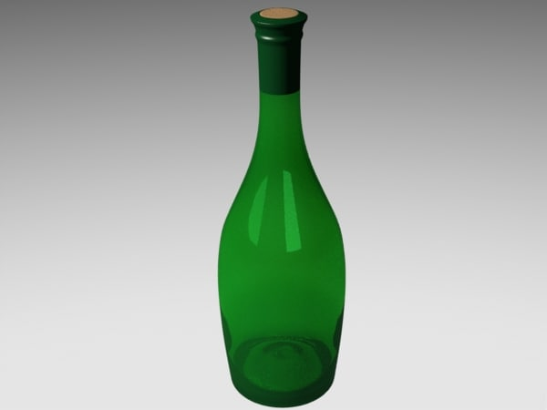 3d model of fluted wine bottle
