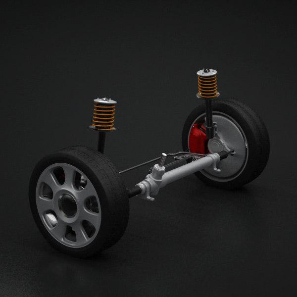 3d model of wheel suspension