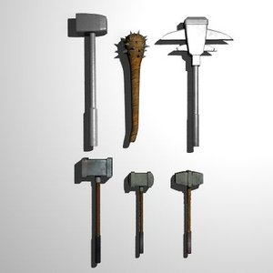 3ds max set medieval axes clubs