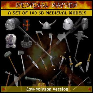 3d model of set swords shields armor