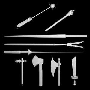 maya set hatchets lances maces