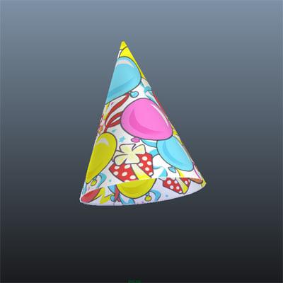3d party hat model