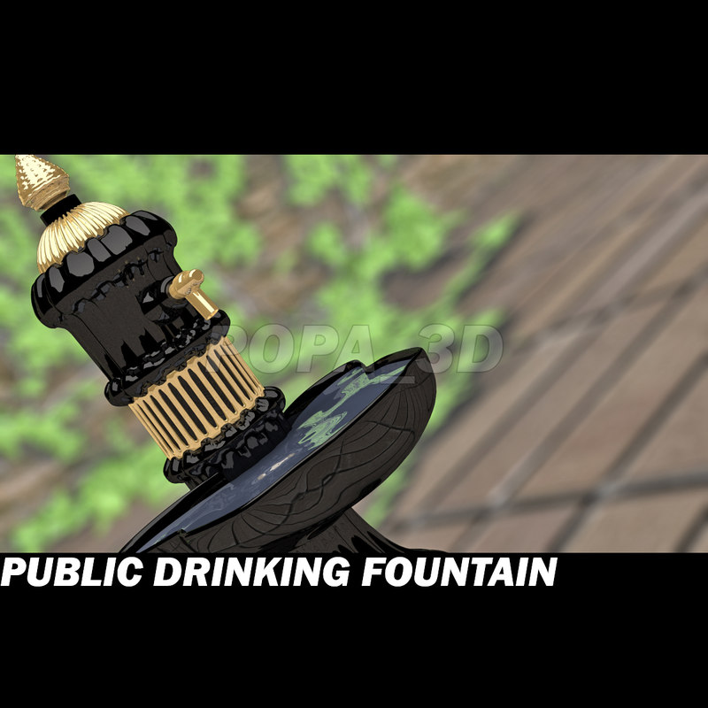 3d public drinking fountain