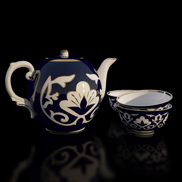 3d porcelain uzbek tea set model