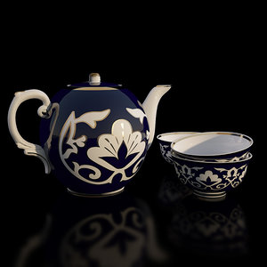 3d porcelain uzbek tea set model