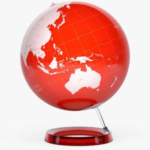 3d v-ray globe earth colored